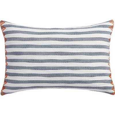 """Marine Layer 18""""x12"""" White and Blue Pillow - Feather Insert - CB2"""