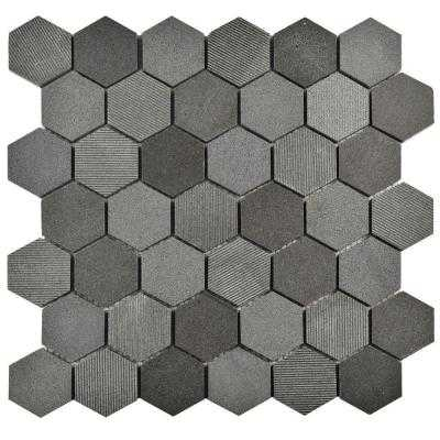 Structure Due Hex Black 11-3/4 in. x 12 in. x 8 mm Natural Lava Stone Mosaic Tile - Home Depot