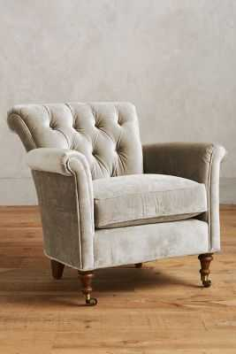 Slub Velvet Gwinnette Chair - Anthropologie