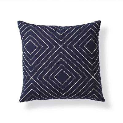 "Blue & White Mason Throw Pillow, 22"" sq., down/polyester insert - Frontgate"