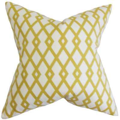 """Tova Geometric Cotton Throw Pillow - Citrine - 20"""" Square - Down/Feather - Wayfair"""