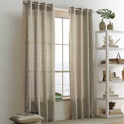 "Linen Cotton Grommet Curtain - 124"" - West Elm"