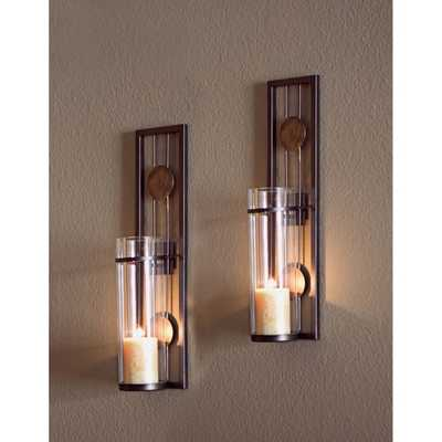 Contemporary Metal Wall Sconce Set - Overstock