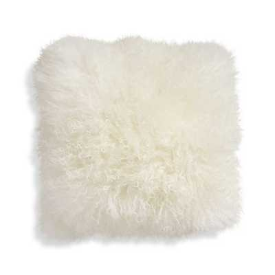 "Pelliccia 16"" Mongolian Lamb Fur Pillow - ivory - with insert - Crate and Barrel"