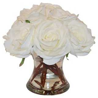 "12"" Roses in Flared Vase, Faux - One Kings Lane"