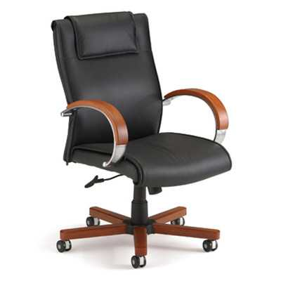 Frogenhall Leather Executive Chair with Arms-Cherry-Mid Back - Wayfair