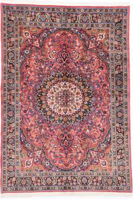 "Hand-knotted Mashad Dark Pink, Red Wool Rug - 6'7"" x 9'5"" - ecarpetgallery.com"