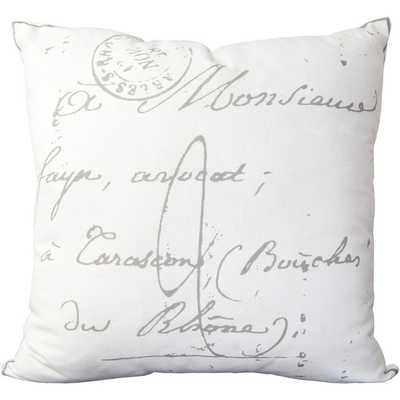 Erskine 18-inch French Script Throw Pillow-Insert-White - Overstock