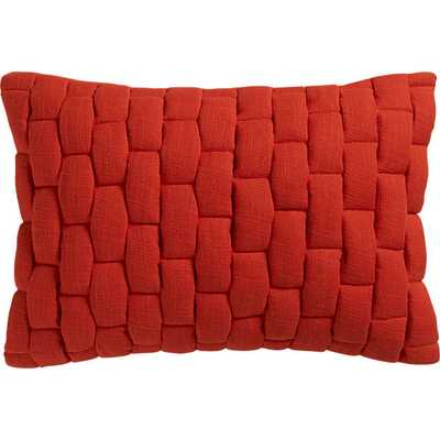 """mason quilted red orange 18""""x12"""" pillow - CB2"""