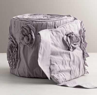 washed appliquéd fleur crib bumper - RH Baby & Child