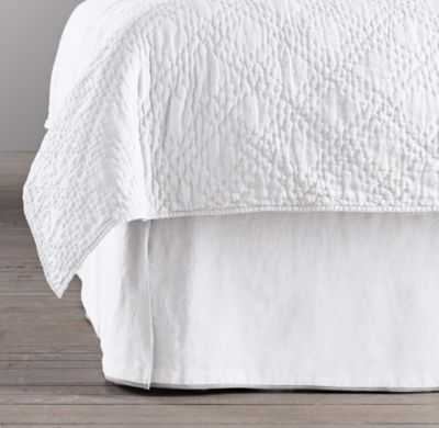STONEWASHED BELGIAN LINEN TIPPED BED SKIRT - RH