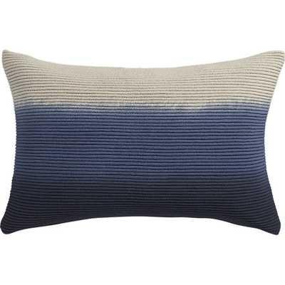 "Blue azure 18""x12"" pillow with down-alternative insert - CB2"
