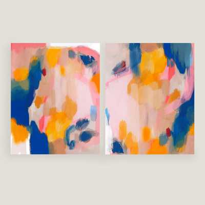 """Pink and Fun I and II Wall Art Set of 2 - 20"""" x 24"""" - Unframed, No Mat - World Market/Cost Plus"""