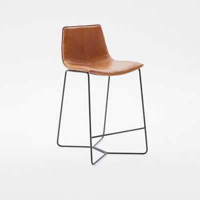 Leather Slope Counter Stool - Set of 2 - West Elm