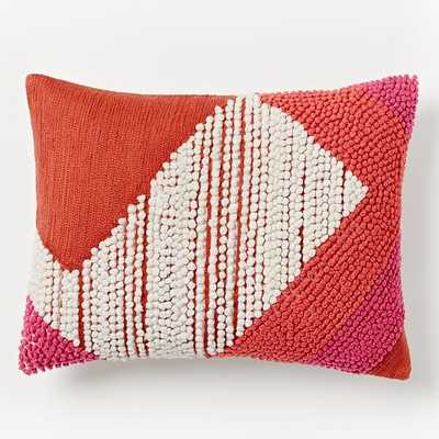 """Striped Angled Crewel Pillow Cover - Poppy - 12""""w x 16""""l - Insert sold separately - West Elm"""