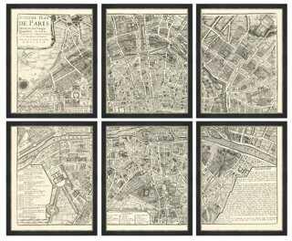 "Map of Paris, Set of 6 - 14"" x 18"" - Framed - One Kings Lane"