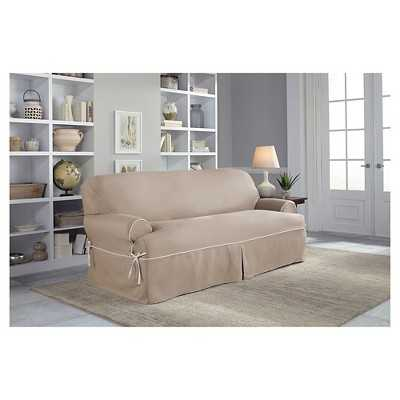 Serta Relaxed Fit Twill Furniture Cover T-Sofa - Taupe/Ivory - Target