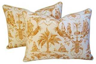 English Chinoiserie Toile Pillows, Pr - One Kings Lane