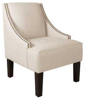 Cam Swoop-Arm Chair, Talc Linen - One Kings Lane
