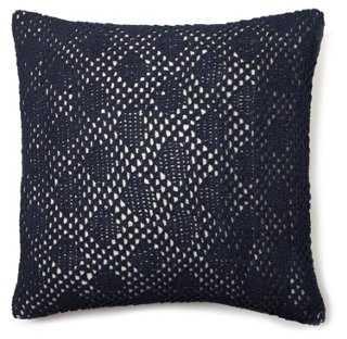 Diamond Crochet Dec Pillow, Indigo - One Kings Lane
