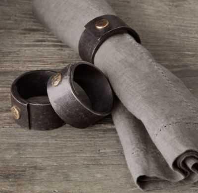 HAMMERED STEEL RIVET NAPKIN RINGS (SET OF 4) - RH