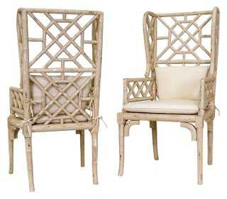 Bamboo Wingback Chairs, Pair - One Kings Lane