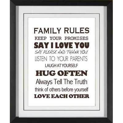 Family Rules Giclee Print Framed Textual Art - Wayfair