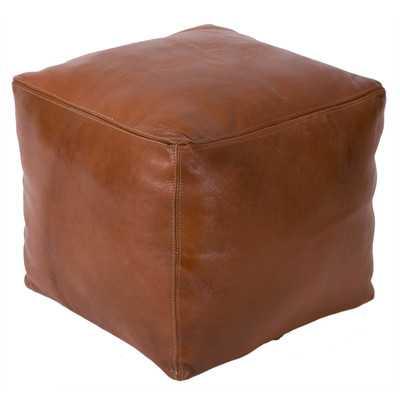 Moroccan Leather Square Pouf Ottoman -Tobacco - Wayfair