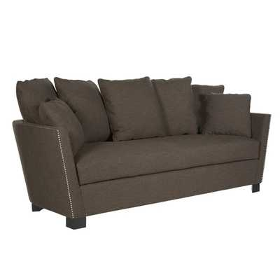 angelo:HOME Abbey Lane Candy Bar Brown Linen Sofa - Overstock