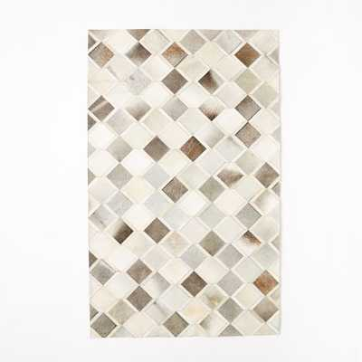 Pieced + Patched Cowhide Rug - Diamond - West Elm