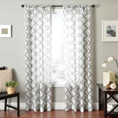 """Penby Burnout Rod Pocket Curtain Panel - Silver/White, 96""""L - Overstock"""