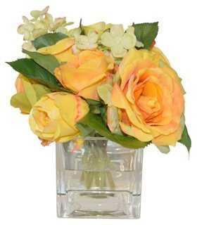 """8"""" Roses & Hydrangea in Cube, Faux - One Kings Lane"""