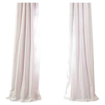 "Faux Solid Taffeta Single Curtain Panel - White, 96""L - AllModern"