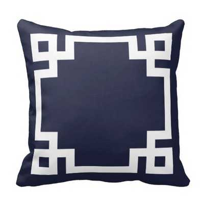 """Navy Blue and White Greek Key Border Pillow - 16"""" x 16""""  - with insert - zazzle.com"""