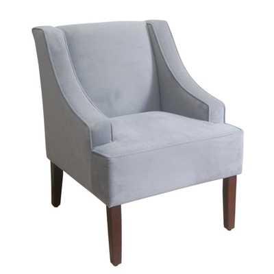HomePop Dove Grey Velvet Swoop Arm Accent Chair - Overstock