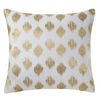 "Nadia Dot Embroidered Cotton Throw Pillow - 18""sq. - Gold,  Polyfill - Wayfair"