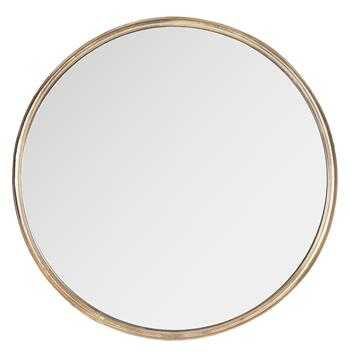 Libby Hollywood Regency Thin Frame Antique Bronze Round Mirror - Kathy Kuo Home