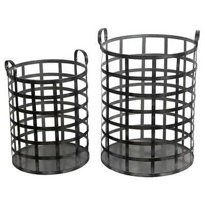 Privilege 2-Piece Iron Bins - Black - Target