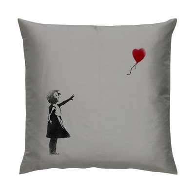"Banksy Heart Balloon Girl Grey Graffiti Artist Cushion/Pillow 18"" with Plump Cushion Insert - Etsy"