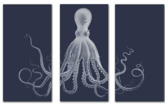 "Octopus Triptych, Octopus Wall Art - 60""x40"" - Unframed - Etsy"