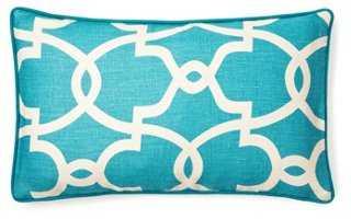 Trellis 12x20 Linen Pillow, Turquoise - One Kings Lane