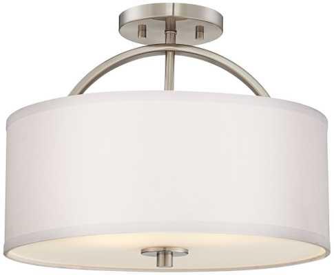 "Brushed Nickel Finish Semi-Flush 15"" Wide Ceiling Light - Lamps Plus"