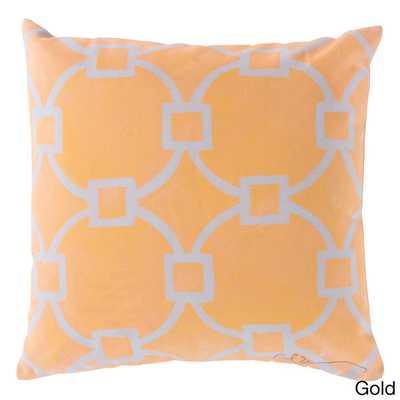 "Geometric Links Indoor/ Outdoor Accent Pillow, 18""Sq, Gold, polystyrene insert - Overstock"
