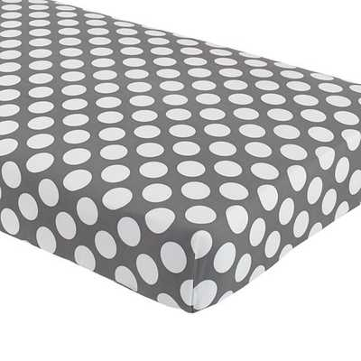 Not a Peep Crib Fitted Sheet (Grey w/White Dot) - Land of Nod