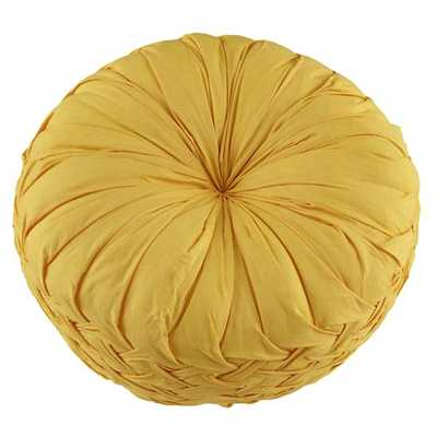 """Yellow Ruched Throw Pillow - 12"""" dia. - Polyester fill - Land of Nod"""