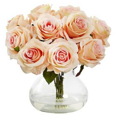 Nearly Natural Rose Arrangement with Vase - Target