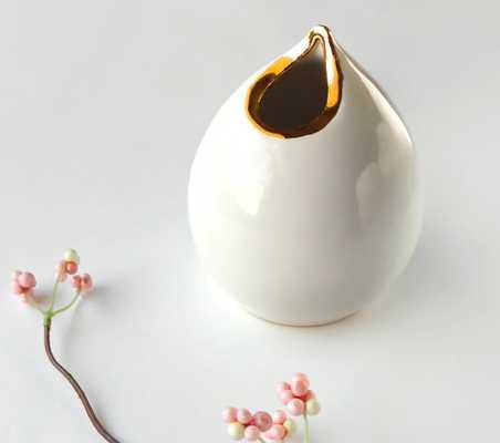 White & Gold Bud Vase - Medium - Teardrop - Etsy