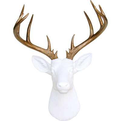 Deer Head Antlers Faux Taxidermy Wall Décor - White / Gold - Wayfair