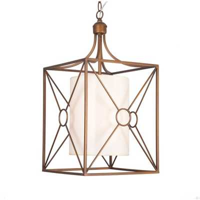Josie Antique Copper Iron Chandelier with Fabric Shade - Overstock