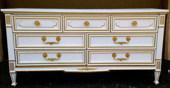 Regal White and Gold Regency Dresser made by Drexel Herattige - Etsy